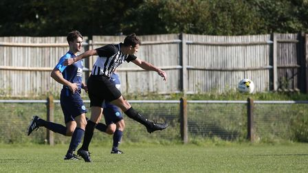 Greg Shaw got two for Colney Heath at Biggleswade United. Picture: DANNY LOO