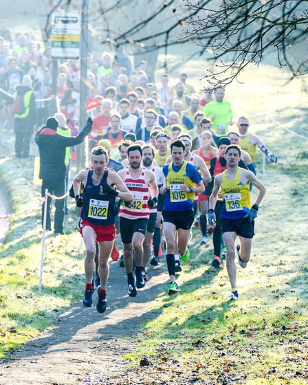 Runners head away from the start at the 2019 Fred Hughes 10 race in St Albans. Picture: NEW PIXELS P