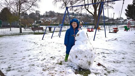Harry and Ted enjoyed building a snowman at Priory Gardens in Royston. Picture: David Hatton