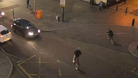 A clip from the police footage of dangerous cycling in St Albans city centre. Teenagers are captured