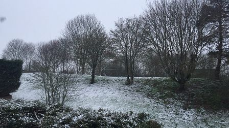 The snow in St Neots at 8am on Friday