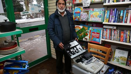 Mohammed Akhtar at his charity shop in Hatfield Road, St Albans, which was burgled overnight. Pictur