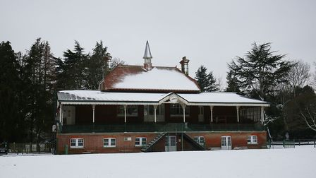 The pavillion in the snow in Clarence Park, St Albans. Picture: DANNY LOO