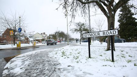 Snow on Seymour Road, St Albans. Picture: DANNY LOO