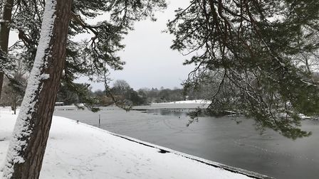 Some of the water was frozen at Verulamium Park during the snowy weather. Picture: Stuart Macer