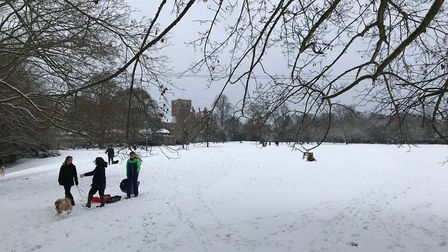 Children enjoying the seasonable weather by St Albans Abbey in The Orchard. Picture: Stuart Macer