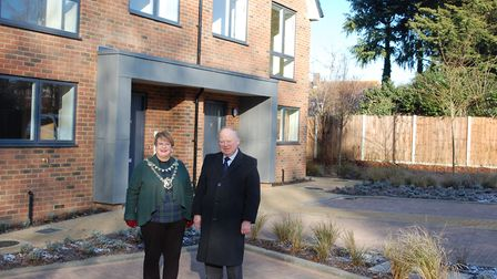 The new homes in Morris Green were officially opened by St Albans Mayor Cllr Rosemary Farmer. Pictur