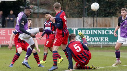 David Moyo blasts the ball towards goal. Picture: LEIGH PAGE