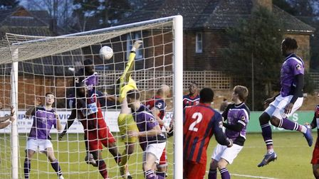 St Albans City put the Hampton goal under pressure. Picture: LEIGH PAGE