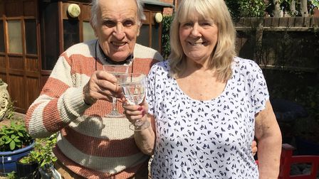 Dick and June Forway celebrating their 60th wedding anniversary in 2017