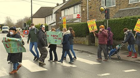 Protestors in Earith marched through the High Street. Picture: ARCHANT