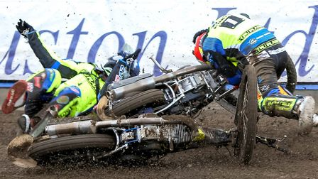 The crash in which Danny King suffered his serious arm injury last year. Picture: STEVE WALLER