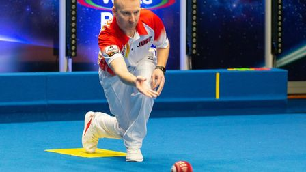 Nick Brett in action during the World Indoor Bowls Championships. Picture: www.worldbowlstour.tv