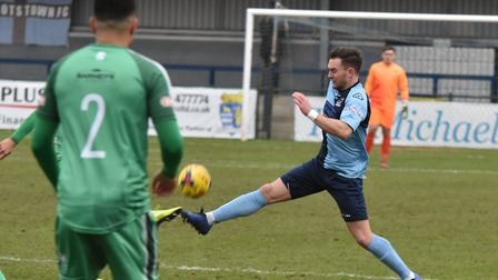 Russell Short hit the only goal as St Neots Town won at Needham Market. Picture: J BIGGS PHOTOGRAPHY