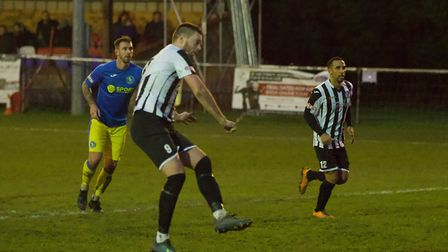St Ives Town striker Jake Newman sees his late penalty saved during their draw with King's Lynn. Pic