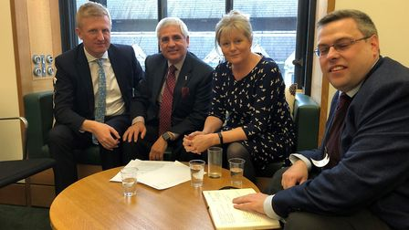 Left to right: Hertsmere MP Oliver Dowden, Claudio Duran, St Albans MP Anne Main and Jock Wright at
