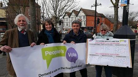 People's Vote campaigners took to the streets of Royston to talk Brexit ahead of MPs amendment votes