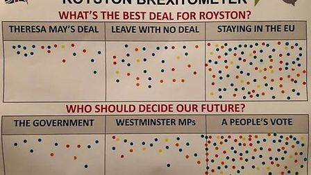 People's Vote campaigners brought the Brexometer to Royston to find out residents views. Picture: Ro