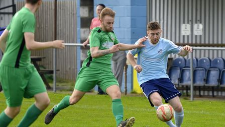 Tom Spark of Godmanchester Rovers in action against Gorleston. Picture: DUNCAN LAMONT