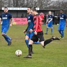 Captain Corey Kingston scored and was then sent off as Huntingdon Town lost to Irchester. Picture: J
