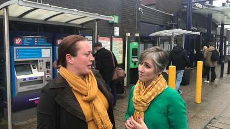 Daisy Cooper and Cllr Jacqui Taylor at St Albans City Station.