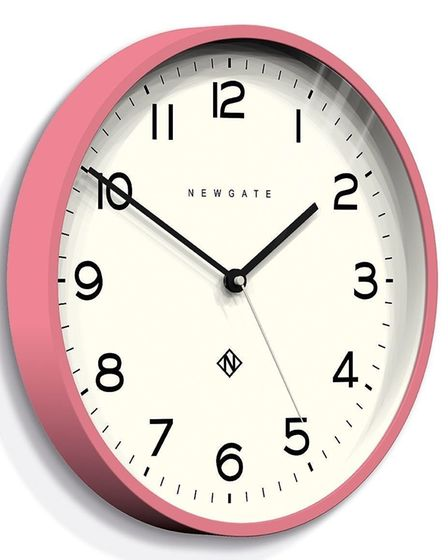 Pretty Up With Pink: Newgate Clocks Number Three Echo Wall Clock, Marshmallow Pink, currently reduce