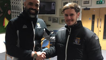 New St Neots Town manager Marc Abbott (right) with the man he succeeds, Matt Clements (left).