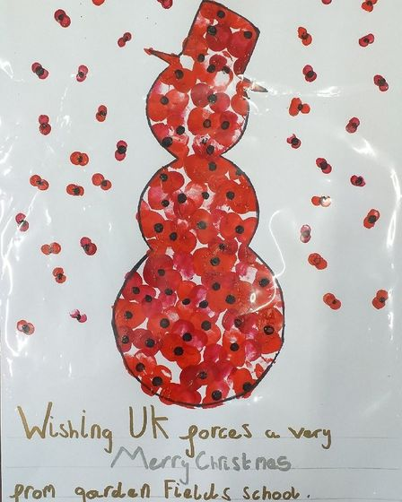 Alfie Douglas's design which won the Armed Forces Covenant Board Schools Christmas Arts Competition