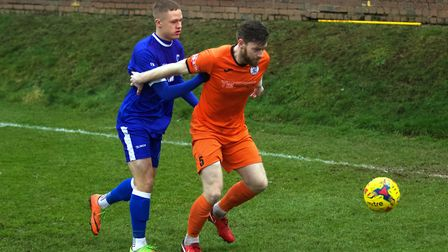 St Ives Town defender Charlie De'Ath was sent off in their home defeat against Rushall Olympic. Pict