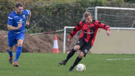 Adam Richardson scored twice in Huntingdon Town's triumph at Harrowby. Picture: J BIGGS PHOTOGRAPHY