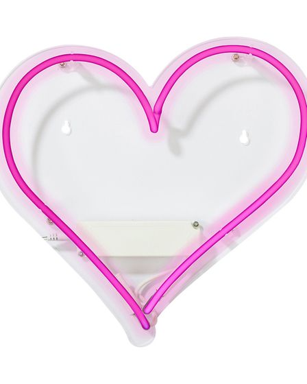 Spell Out Desire: Love Heart Neon Light, £65, Talking Tables. Picture: Talking Tables/PA