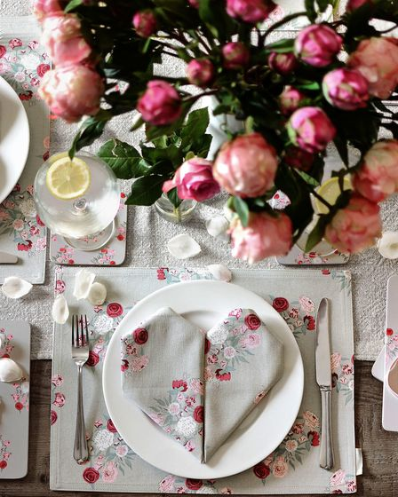 Get Set For Love: Sophie Allport Peony Fabric Placemat, £7.50; Peony Coasters Set of Four, £14. Pict