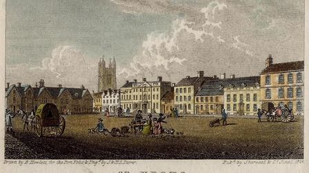 A drawing of St Neots Market Square in 1824