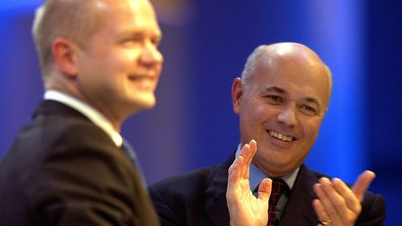 Former Tory leaders William Hague and Iain Duncan-Smith. Photograph: Phil Noble/PA.