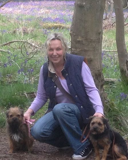 Catherine on a dog walk with her two Border terriers. Picture: Supplied by Catherine Lawless.