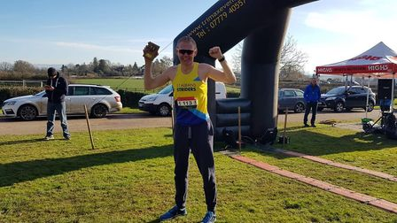 St Albans Striders' Stephen Hosty won the inaugural 15-mile Mayhill Mayhem trail race in Gloucesters