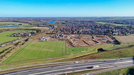 The A14 at Brampton Hut, picture taken from the air. Picture: GEOFF SODEN