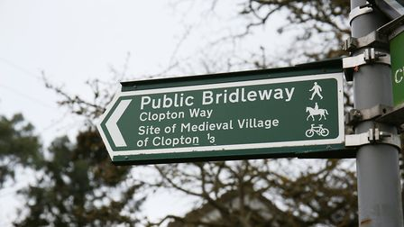 A sign pointing towards the site of the Medieval village of Clopton. Picture: DANNY LOO