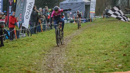 Alfie Aldridge of Verulam Reallymoving takes the win in the Central Cyclo-Cross League at Misterton