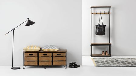 Create a (clutter free) stairway to heaven: Layne Hall Stand, Black & Mango Wood, £299; Amph Storage