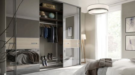 Store away for a serene sanctuary: Spaceslide Premium Mini sliding doors in Grey Mirror and Cape Elm