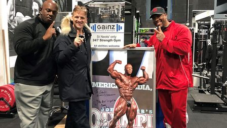Mr Olympia Shawn Rhoden (pictured right) at Ganiz Fitness and Strength