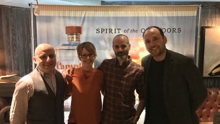 Dylan's bartender Roberto Fiorillo, Kate and Ben Marston from Puddingstone Distillery, and Sean Hugh