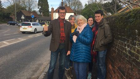Sandy Walkington at the King Harry Junction with residents Carole Muller and Stephen Barrett and Lib