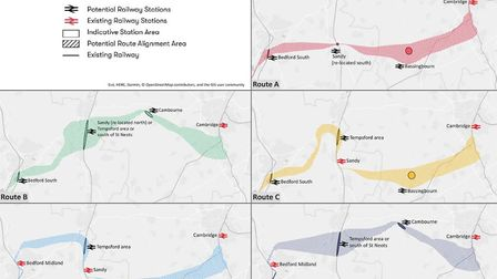 The five routes that are being put forward for the new Cambridge to Bedford railway line