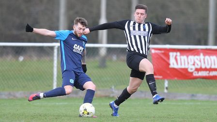 Colney Heath V Arlesey Town - Aedan Gaffney for Arlesey Town battles with Danny McCafferty for Colne