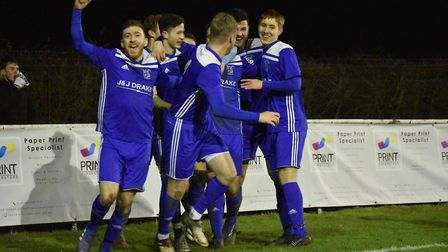 Godmanchester Rovers players celebrate a goal in their win at Huntingdon Town. Picture: JAMES RICHAR
