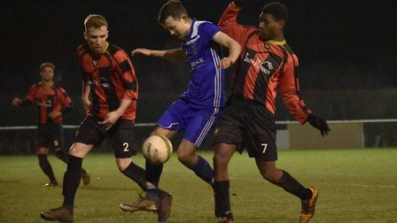 Matty Allan scored Godmanchester Rovers' second goal as they reached the Hinchingbrooke Cup final. P
