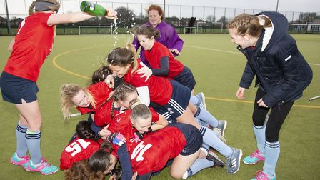 St Neots Ladies 2nds players celebrate their Five Counties Women's League Division One title triumph