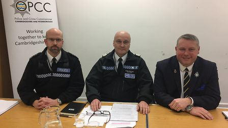 Chief Inspector Steve Kerridge, chief constable Nick Dean and police and crime commissioner Jason Ab